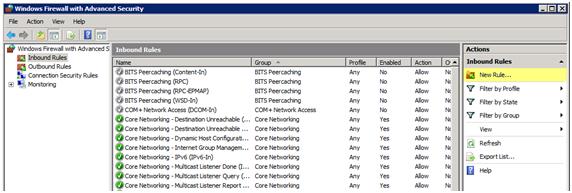 کانفیگ فایروال ویندوز سرور برای filezilla server